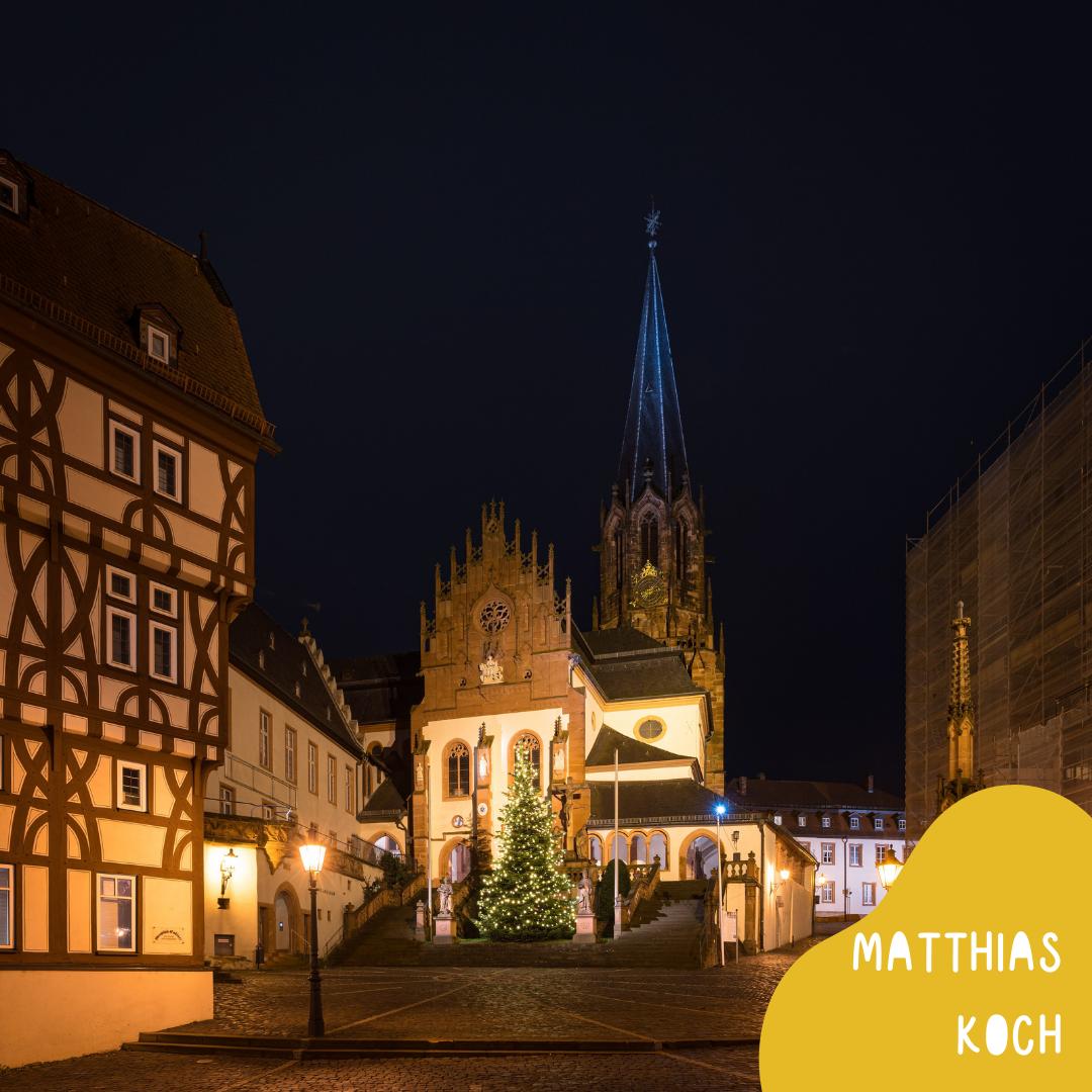 Aschaffenburger Stiftskirche - Foto: Matthias Koch - auf der Webseite www.aschaffenbuch.de - Vorlage für Illustration - Kinderbuch